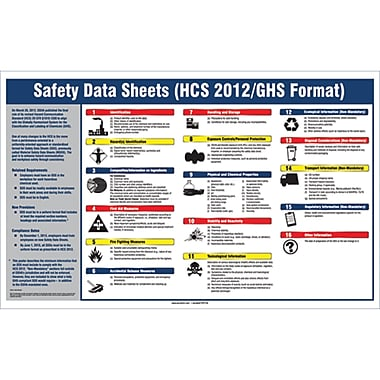 Right-To-Know: SDS Posters, Safety Data Sheets (HCS 2012/GHS Format), SEJ572
