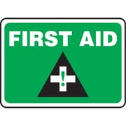 """Safety Signs and Identification, First Aid, 14"""", Bilingual"""