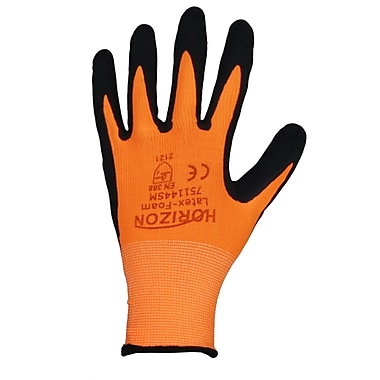 Horizon 13 Gauge Knit Polyester High Visibility Glove with A Latex Foam Coated Palm, 12/Pack