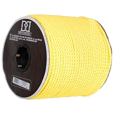 Twisted 3 Strand Polypropylene Rope, Yellow, 3/16