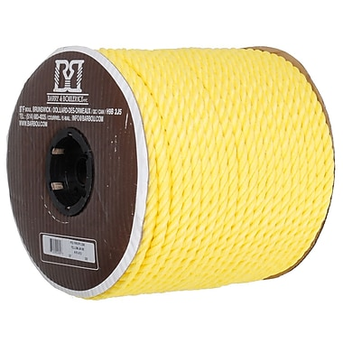 Twisted 3 Strand Polypropylene Rope, Yellow, 1/2
