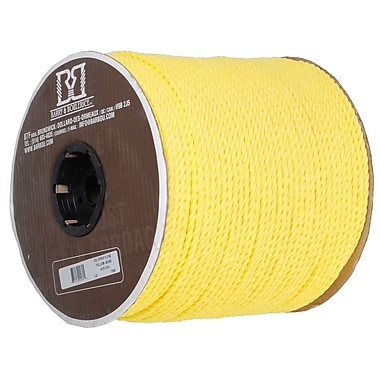 Twisted 3 Strand Polypropylene Rope, Yellow, 1/4