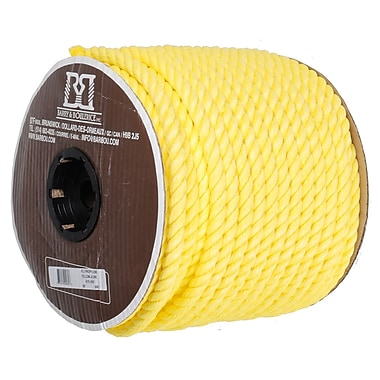 Twisted 3 Strand Polypropylene Rope, Yellow, 5/8