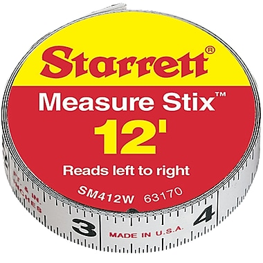 Measure Stix Steel Measuring Tape with Adhesive Backing, TBD721, 12/Pack