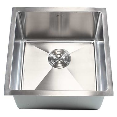 eModern Decor Ariel 18'' x 18'' Single Bowl Undermount Kitchen Sink
