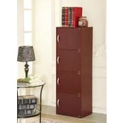 Hodedah 4 Door Storage Cabinet; Mahogany