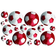 Fun To See Soccer Balls Nursery and Bedroom Wall Decal; Red