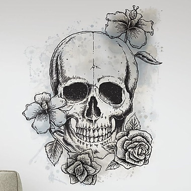 Room Mates Internet Only Neutral Floral Skull Wall Decal