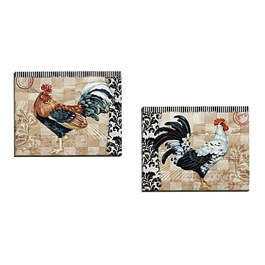 Portfolio Canvas Bergerac Rooster I Black by Paul Brent 2 Piece Painting Print on Wrapped Canvas Set