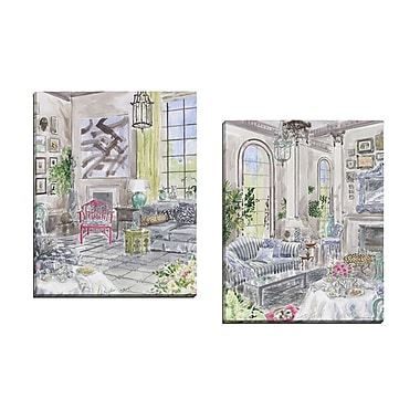 Portfolio Canvas Afternoon Tea 1 by Jocelyn Haybittle 2 Piece Painting Print on Wrapped Canvas Set