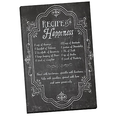 Portfolio Canvas Recipe for Happiness Chalkboard Textual Art on Canvas
