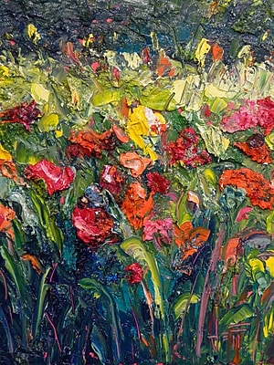 HadleyHouseCo Thick Bloom by Jeff Boutin Painting Print on Wrapped Canvas; 40'' H x 30'' W x 1.5'' D