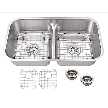 Soleil 32.38'' x 18.13'' Double Bowl Kitchen Sink
