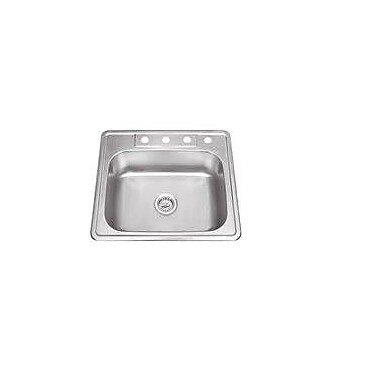 Soleil 25'' x 22'' Stainless Steel Drop In Single Bowl Kitchen Sink