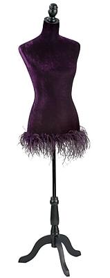 Tripar Purple Velvet Adjustable Dress Form with Feather Trim (35845)
