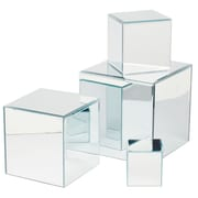 Tripar Square Glass Mirror Risers, 4/Set (36575)