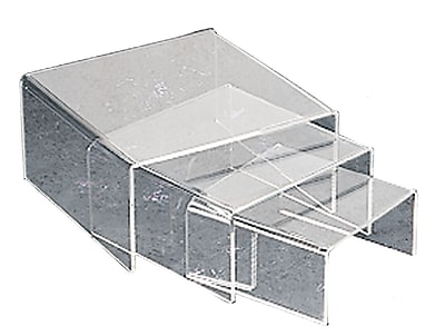 Tripar Low Profile Riser Set, Small, Clear Acrylic, 24/Pack in Sets of 3 (48-2151)