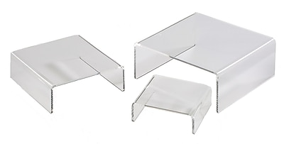 Tripar Small Low-Profile Riser Set in Clear Acrylic, 12 Sets of 3 Risers (48-2152)