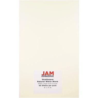 JAM Paper - Papier cartonné Strathmore de format légal, 8,5 x 14 po, 80 lb, vélin blanc naturel, 50/paquet (17428899)