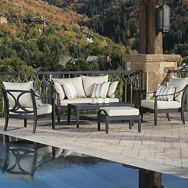 RST Brands Outdoor Astoria 5 Piece Deep Seating Group with Cushions; Slate Grey
