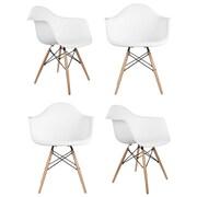 eModern Decor Mid Century Modern Scandinavian Arm Chair (Set of 4); White