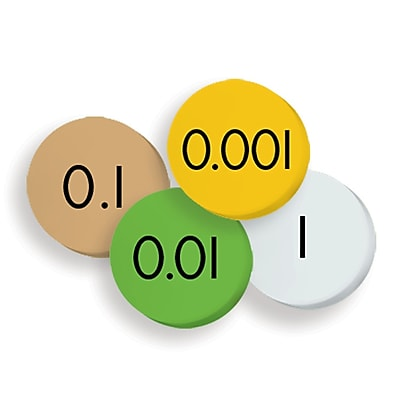 "Essential Learning Products® 4-Value Decimals To Whole Number Place Value Discs, 1"", 100 Discs (ELP626635)"