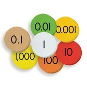 """Essential Learning Products® 7-Value Decimals To Whole Numbers Place Value Discs, 1"""", 175 Discs (ELP626637)"""