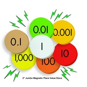 """Essential Learning Products® 7-Value Jumbo Magnetic Place Value Demonstration Discs, 2"""", 140 Dics (ELP626639)"""