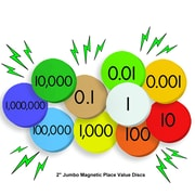 """Essential Learning Products® 10-Value Jumbo Magnetic Place Value Demonstration Discs, 2"""", 200 Discs (ELP626640)"""