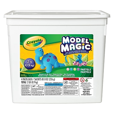 Crayola Model Magic Pastel Colours Modeling Material, Assorted Colours, 2lb Bucket, 4 - 8oz Bags (BIN232235)