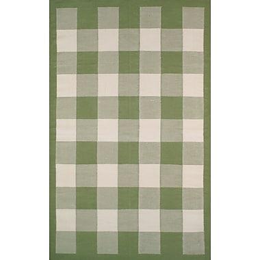 American Home Rug Co. Cottage Kilim Sage Elegant Check Area Rug; 3'6'' x 5'6''