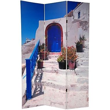 Oriental Furniture 70.88'' x 47'' Double Sided Santorini Greece 3 Panel Room Divider
