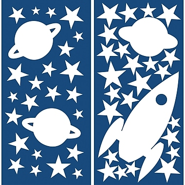 WallPops! Home Decor Line Rocket and Stars Glow in the Dark Wall Decal