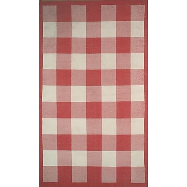 American Home Rug Co. Cottage Kilim Berry Red Elegant Check Rug; 3'6'' x 5'6''