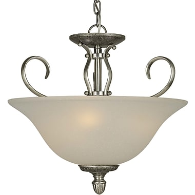 Forte Lighting 3-Light Semi Flush Mount; Comb of Brushd Nickel and River Rock / White Linen