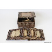 DestiDesign Square Antique Wooven Box W/ Bamboo Slat And 4Pcs Square Coaster
