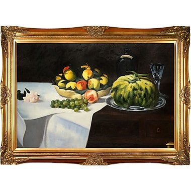 Tori Home Still Life w/ Melon and Peaches by Edouard Manet Framed Painting Print on Wrapped Canvas