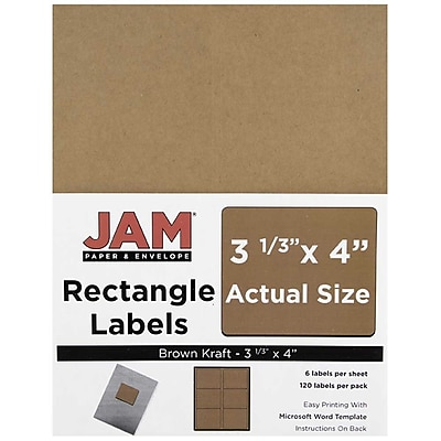 JAM Paper® Mailing Address Labels, 3 1/3 x 4, Brown Kraft, 120/pack (4513702)