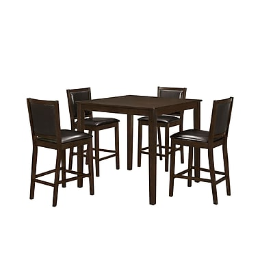 Monarch Dining Set 5 Piece Set, Walnut Veneer Counter Height