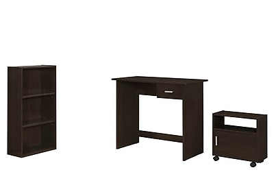 Monarch Specialties 3Pcs Desk, Bookcase, Catr in Cappuccino ( I 7102 )