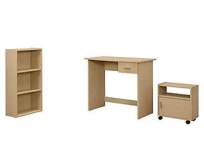Monarch Specialties 3Pcs Desk, Bookcase, Cart in Maple ( I 7103 )