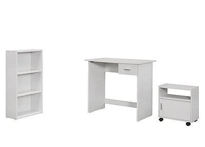 Monarch Specialties 3Pcs Desk, Bookcase, Cart in White ( I 7104 )