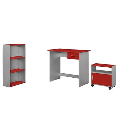 Monarch 3 Piece Computer Desk Set, Red/Silver