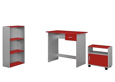 Monarch Specialties 3Pcs Desk, Bookcase, Cart in Silver and Red ( I 7105 )