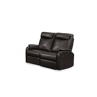 Monarch Jason Series Reclining Bonded Leather Love Seat, Brown