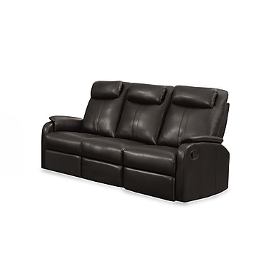 Monarch Jason Series Reclining Bonded Leather Sofa, Brown