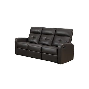 Monarch Ronald Series Reclining Bonded Leather Sofa, Brown