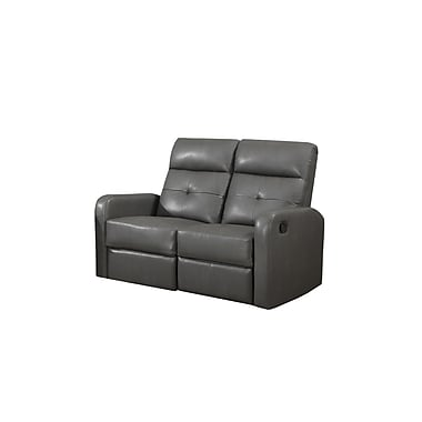 Monarch Ronald Series Reclining Bonded Leather Love Seat, Charcoal Grey