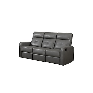 Monarch Ronald Series Reclining Bonded Leather Sofa, Charcoal Grey