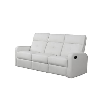 Monarch Ronald Series Reclining Bonded Leather Sofa, White